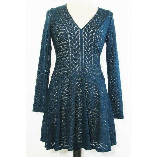 BCBG MAXAZRIA Women's Turquoise Jacquard V-Neck Fit & Flare Dress Size XS