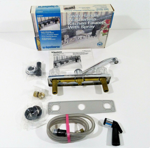 AquaSource Twin Handle Washerless Faucet with Spray 24831 - OPEN BOX