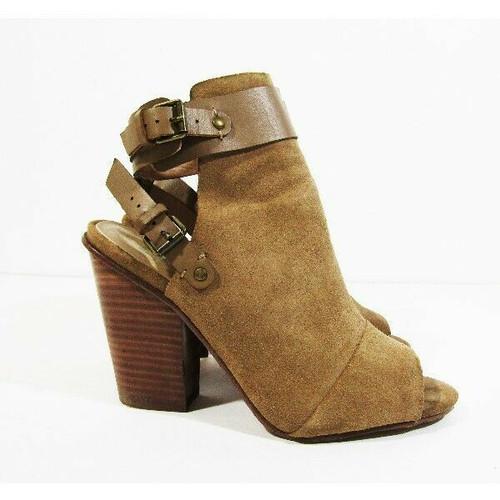 Joe's Jeans Women's Tan Leather Upper Open Toe Heeled Booties Size 6