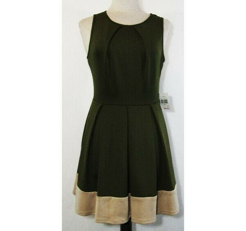 Teeze Me Women's Olive & Taupe Fit & Flare Dress Size Large **NEW WITH TAGS**