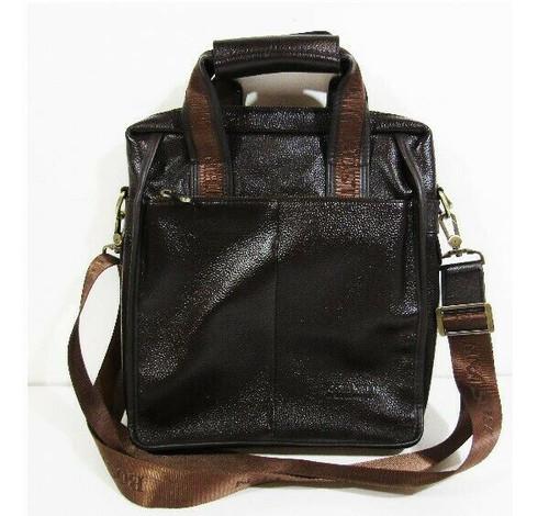 Bostanten Men's Brown Genuine Leather Business Crossbody Briefcase 14 x 12 x 3