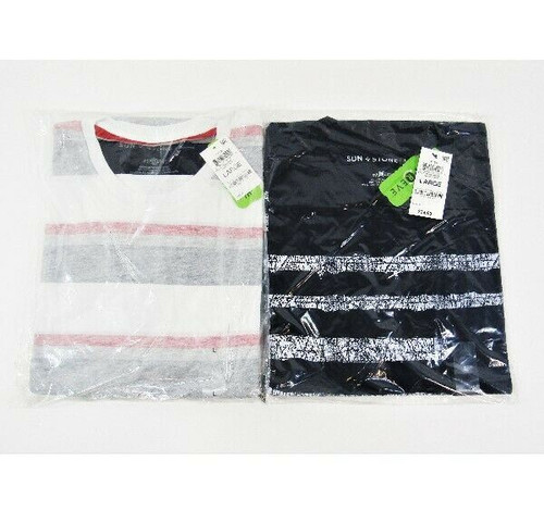 Sun + Stone Men's 2 Pack Short Sleeve Striped T-Shirts Size Large NEW IN PACKAGE