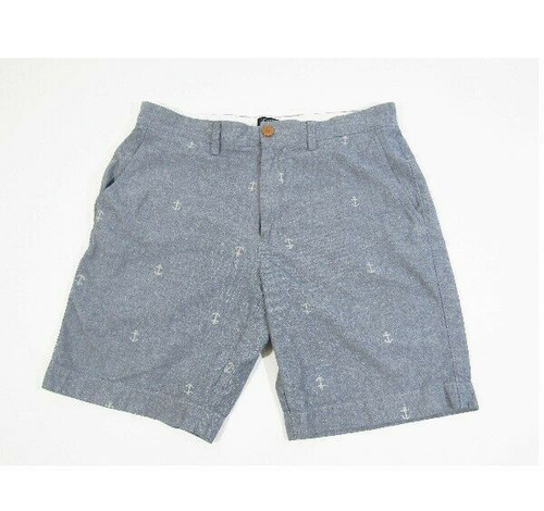 J. Crew Gramercy Men's 100% Cotton Blue Anchor Patterned Shorts Size 32W