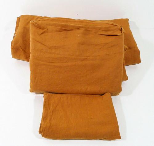 CB2 Copper Linen Full/Queen Duvet Cover & Queen Sheet Set - MISSING 1 PILLOWCASE