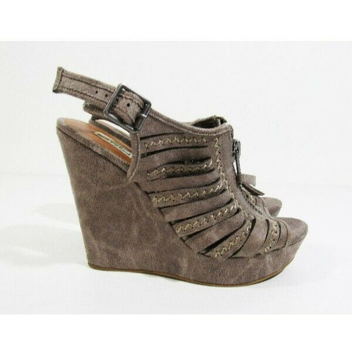 Not Rated Women's Taupe Peep Toe Wedges Size 8