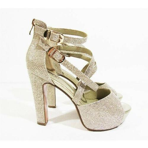 "IDIFU Women's Gold IN5 Charcy Crisscross High Heels w/ 4.5"" Heel Size 8"