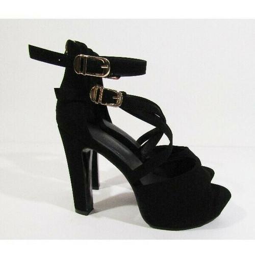 """IDIFU Women's Black IN5 Charcy Crisscross Peep Toe Heels w/ 4.5"""" Heel Size 8"""