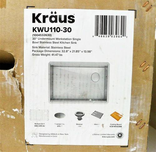 Kraus KWU110-30 Kitchen Single Bowl Workstation - LOCAL PICKUP ONLY, AUSTIN TX