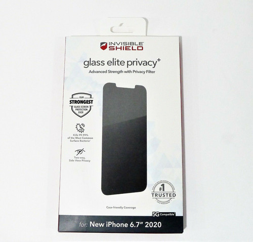 """InvisibleShield Glass Elite Privacy Glass Screen Protector for Apple iPhone 6.7"""""""