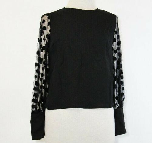 Shein Women's Black Polka Dot Sleeve Blouse Size Small **NEW w/o TAGS**