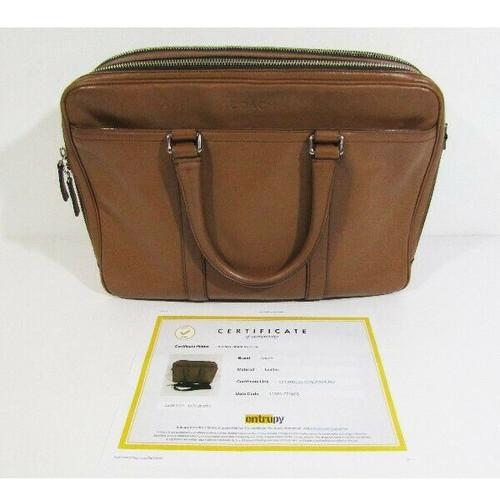 """Coach Men's Brown Leather Briefcase w/ COA by Entrupy 16""""x12""""x4.5"""" *See Descr."""