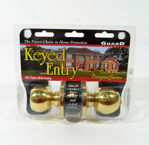 Guard Security Tubular Door Lock Entry Set with Keys in Polished Brass 1990P NEW