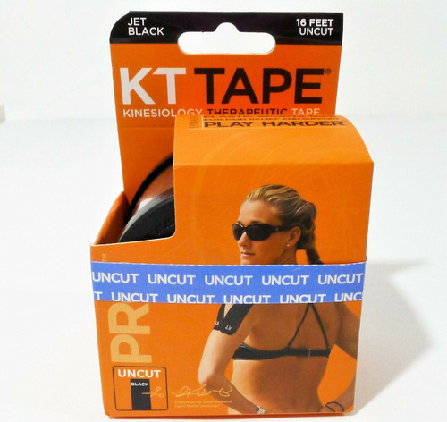 KT Tape Black Synthetic Elastic Therapeutic Tape 16' Uncut Roll - NEW SEALED
