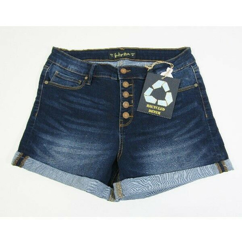 Indigo Rein Recycled Women's Dark Wash Cuffed Shorts Size 13 **NEW WITH TAGS**