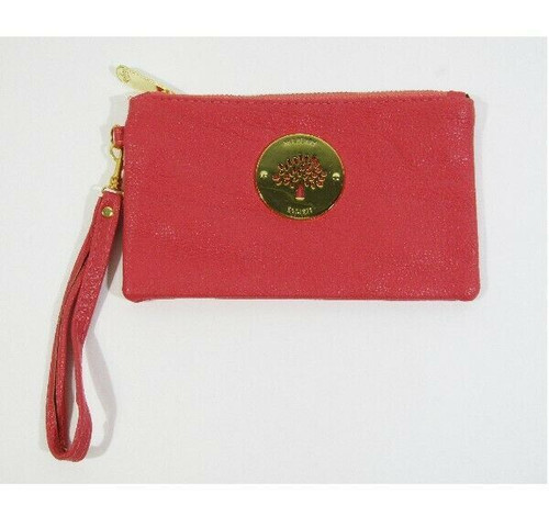 """Mulberry Women's Pink Leather Zip Up Wristlet 7"""" x 4"""""""