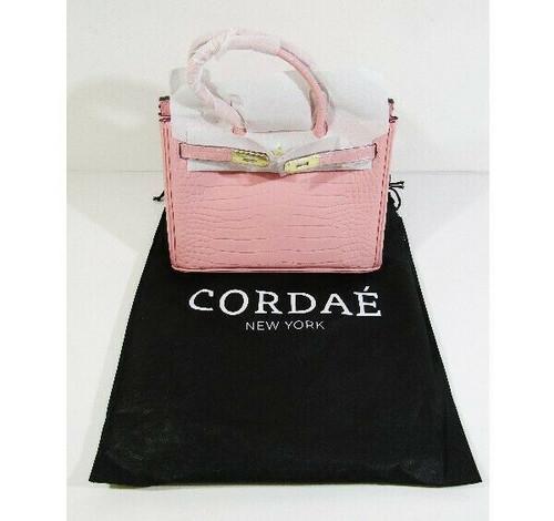 Cordae New York Pink Crocodile Embossed Leather Shoulder Bag **NEW IN PACKAGE