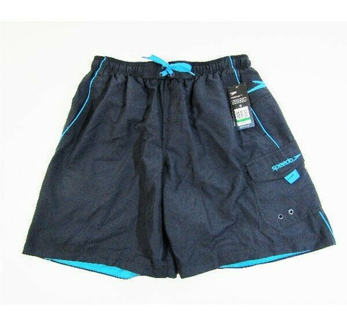 "Speedo Turbo Dri Men's Gray & Blue Volley 20"" Swim Trunks Size L **NWT**"