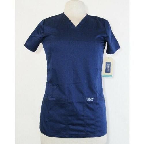 Cherokee Workwear Women's Blue Revolution Scrub Top Size XXS **NEW WITH TAGS**