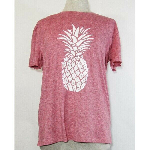 Hellopopgo Women's Pink & White Pineapple T-Shirt Size Large **NEW IN PACKAGE**