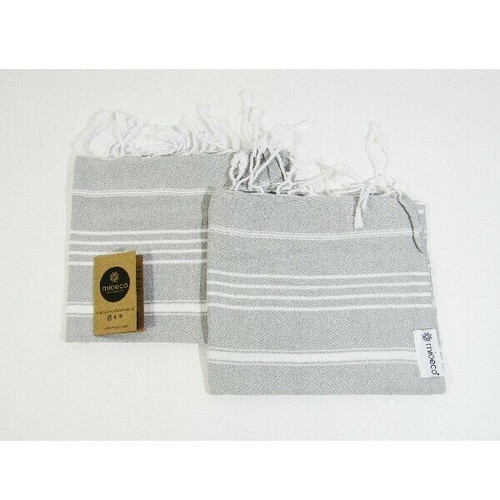 Mioeco Set of 2 100% Organic Cotton Turkish Hand Towels **NEW IN PACKAGE**