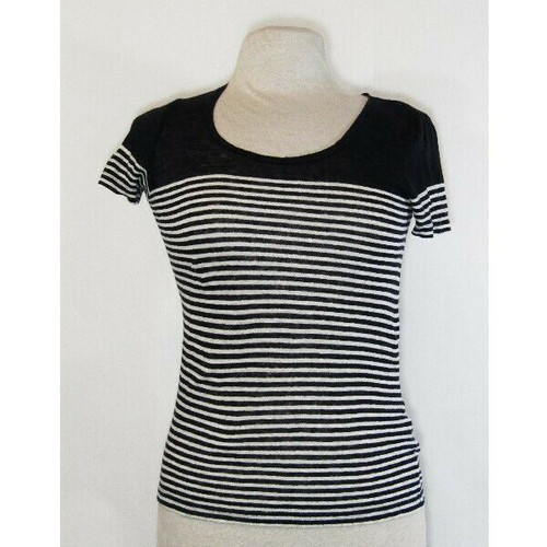 J. Crew Women's Navy Blue & White Striped 100% Linen T-Shirt Size XXS