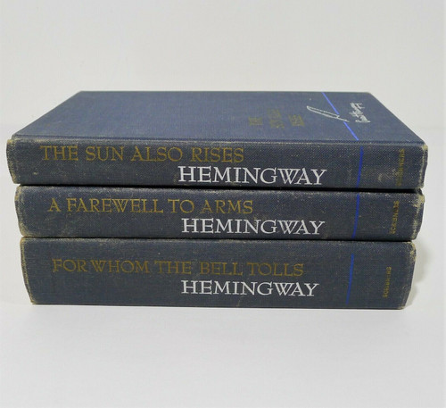 3 Ernest Hemingway Books Sun Also Rises, Farewell to Arms & Whom the Bell Tolls