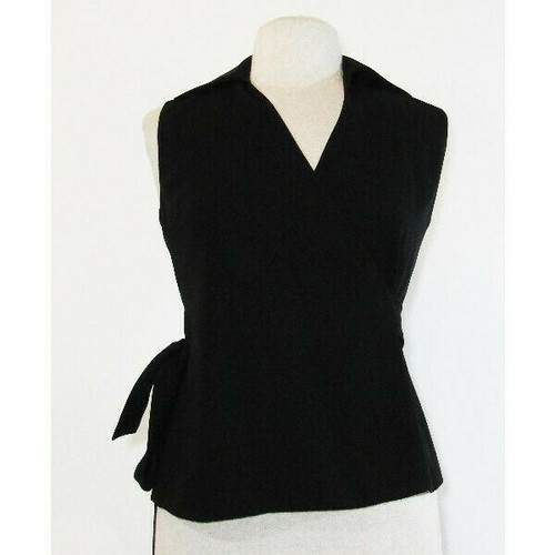 Harold's Women's Black Sleeveless Side Tie Blouse Size 2 **Has Dirt Marks