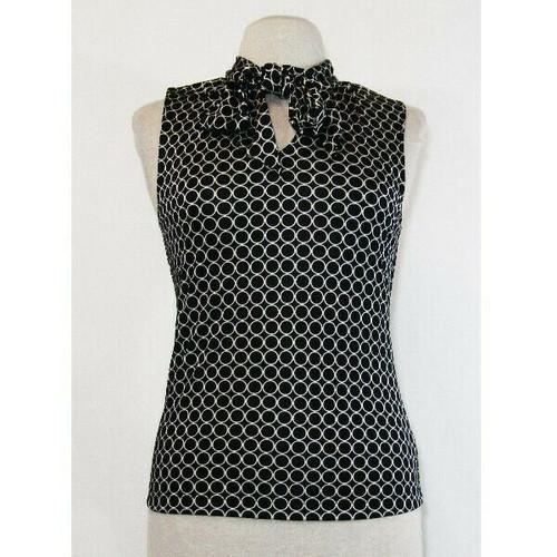 Banana Republic Women's Black & White Sleeveless Front Tie Blouse Size Medium