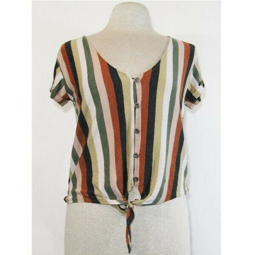 American Eagle Outfitters Women's Multicolor Striped Front Tie Blouse Size Small