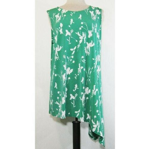 Alfani Women's Plus Green & White Floral Sleeveless Asymmetrical Blouse Size 3X