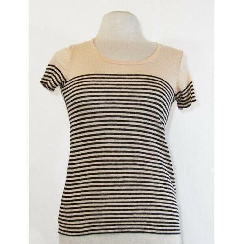 J. Crew Women's Pink & Navy Blue Striped 100% Linen T-Shirt Size XXS