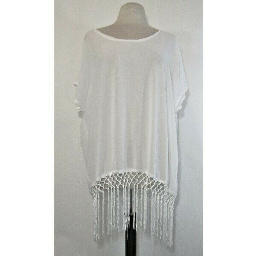 Chalier Women's Chiffon White Swimsuit Cover Up One Size **NEW IN PACKAGE**