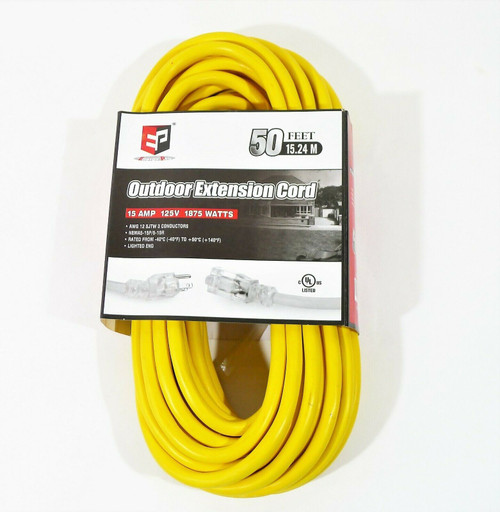 Energy Pro Outdoor Extension Cord 15 Amp 125V 1875 Watts 50' E123W50EF -NEW