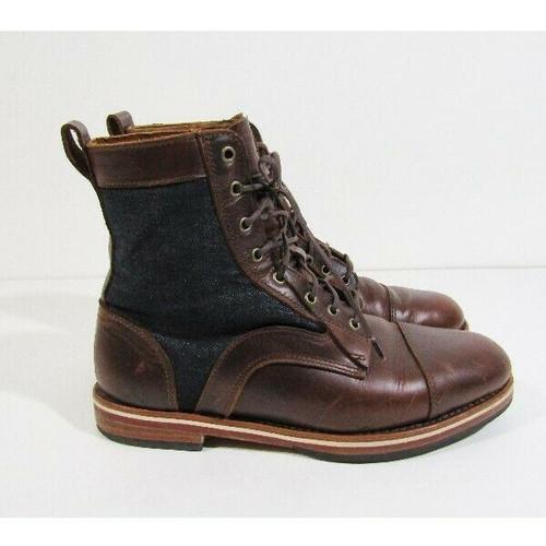 Helm Men's Brown Leather & Denim Sam Boots Size 8.5D
