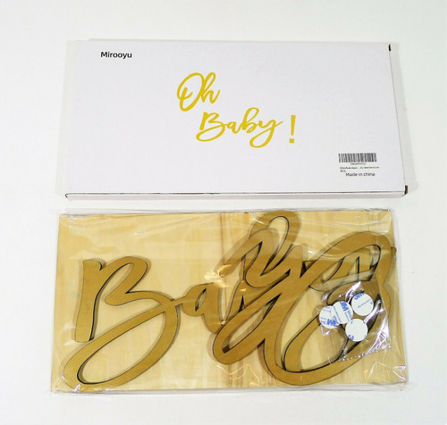 """Mirooyu """"Oh Baby"""" Wooden Baby Shower Sign with Gold Paint - NEW"""