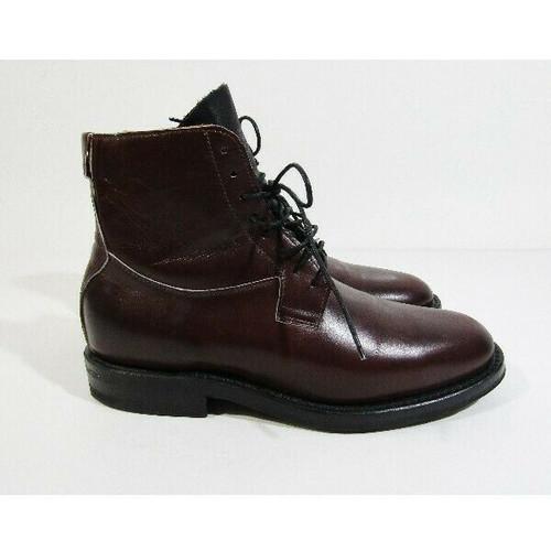 Viberg Men's Dark Burgundy Leather Lace Up Service Boots Size 7