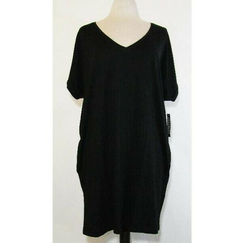 New York & Company Women's Black T-Shirt Dress w/ Pockets Size XL **NWT**