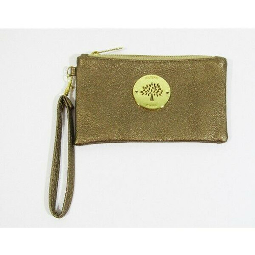 """Mulberry Women's Gold Leather Zip Up Wristlet 7"""" x 4"""""""
