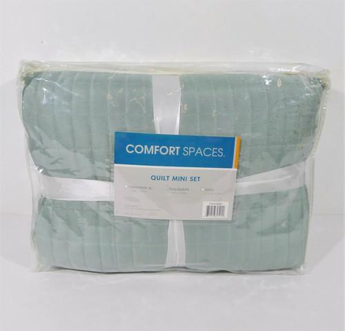 """Comfort Spaces Seafoam Kienna Quilt Set Full/Queen 90"""" x 90""""  - NEW"""