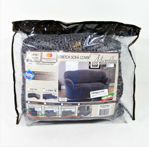 PAULATO Gray 1-Piece Form Fit Stretch Sectional  L-Shape Right Couch Sofa Cover