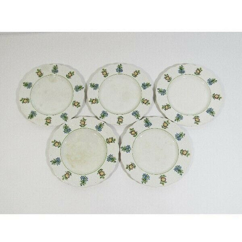 Royal Cauldon Bristol Garden Set of 5 Decorative Salad Plates **HAS CRAZING**