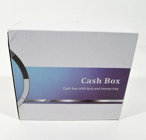 "Decaller Small Blue Money Box with Money Tray & Key Lock 6 1/5"" x 5"" x 3"" - NEW"
