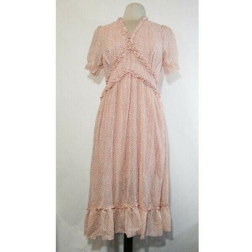 Welity Women's Pink Short Sleeve Ruffled Midi Dress Size M **NEW IN PACKAGE**