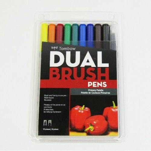 Tombow Primary Palette Dual Brush Pens Set of 10 **NEW IN PACKAGE**