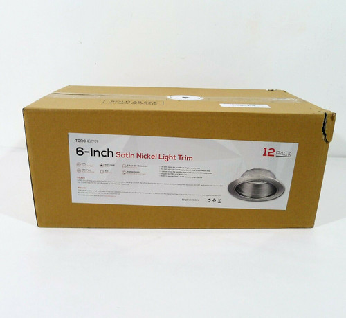 """12 Pack TorchStar 6"""" Recessed Can Light Trim in Satin Nickel - NEW **BOX DAMAGE"""