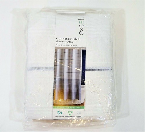 Excell Simi Stripe Fabric Shower Curtain - NEW