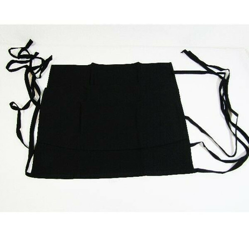 """Syntus 3 Pack Black Cotton Waitress Aprons, 11.5"""" **NEW IN PACKAGE**"""