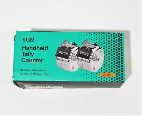 2 Pack KTrio Handheld Tally Counter Metal Hand Tally Counter 4-Digit - OPEN BOX