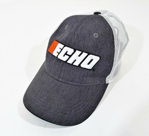 Echo Gray Mesh Back Truckers Cap Hook and Loop Fastener