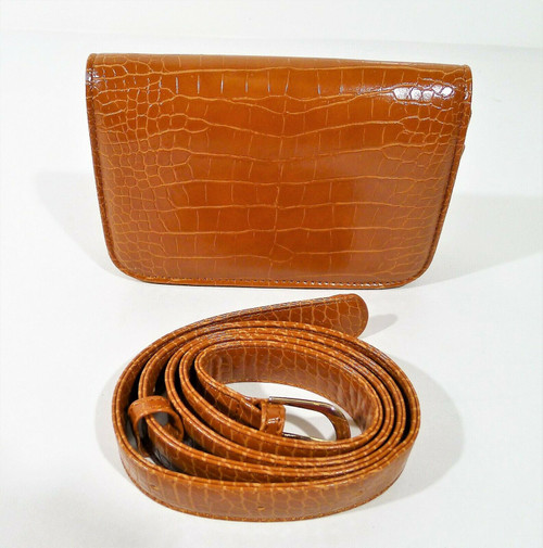 Badiya Women's Brown Croc Embossed PU Mini Waist Bag Fanny Packs - NEW
